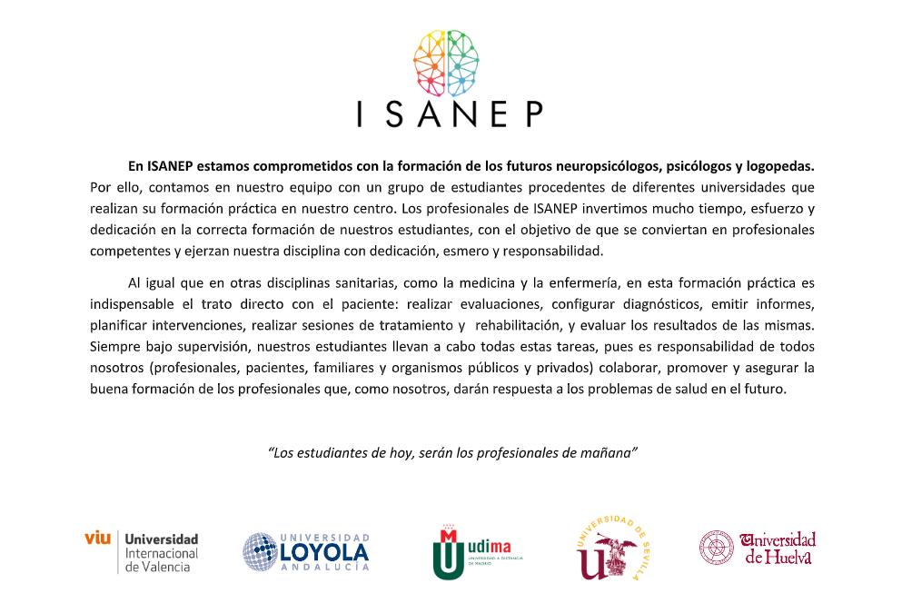 En ISANEP estamos comprometidos con la formación de los futuros neuropsicólogos, psicólogos y logopedas.