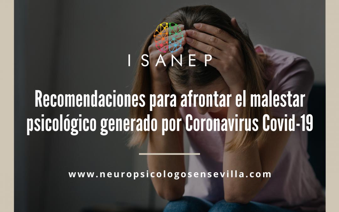 Recomendaciones para afrontar el malestar psicológico generado por Coronavirus Covid-19
